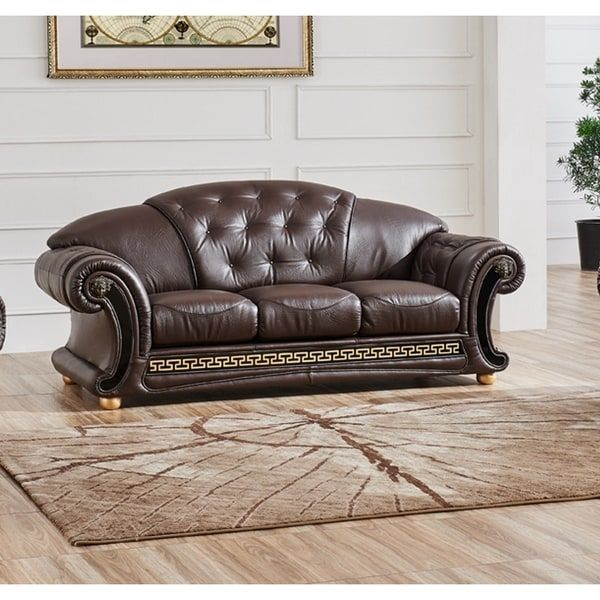 LUCA Home Split Brown Leather Sofa Bed