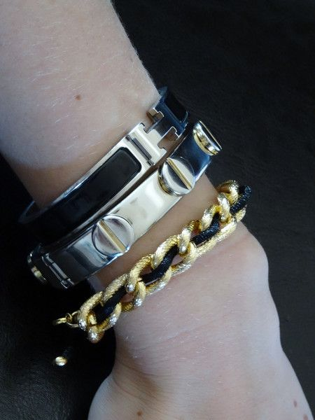 Friendship Bracelet (Color Options)  Chain and rope intertwined into this subtle yet stunning bracelet. Comes in black, white or this Fall's hottest hue, burgundy. Be bold and mix up your metals by pairing this yellow gold bracelet with your favorite silver pieces (as pictured). YK Jewels.