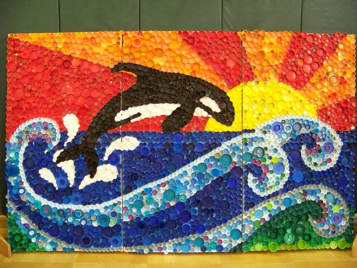 bottle cap art projects | 3rd grade - group project (bottle caps) | School Art and Craft - Grou ...
