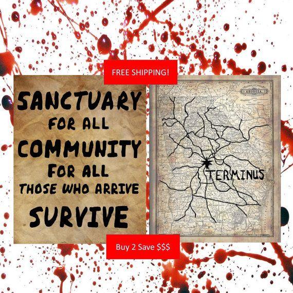 AMC's The Walking Dead TERMINUS Map Sanctuary Sign Vintage Design by ManCaveStore, $12.50
