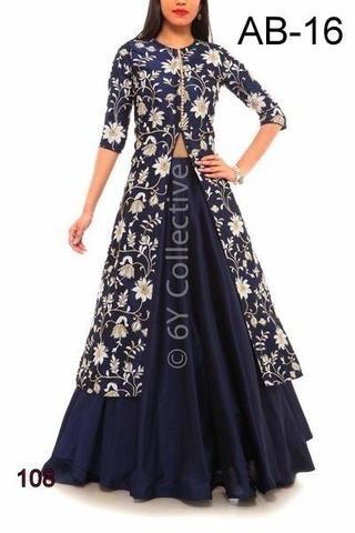 ASTHA BRIDAL- Blue  Color Banglori Silk Dress - ABC-16