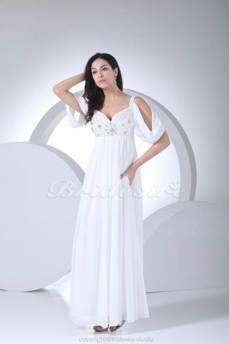 Sheath/Column Sweetheart Floor-length Short Sleeve Chiffon Wedding Dress - $108.99