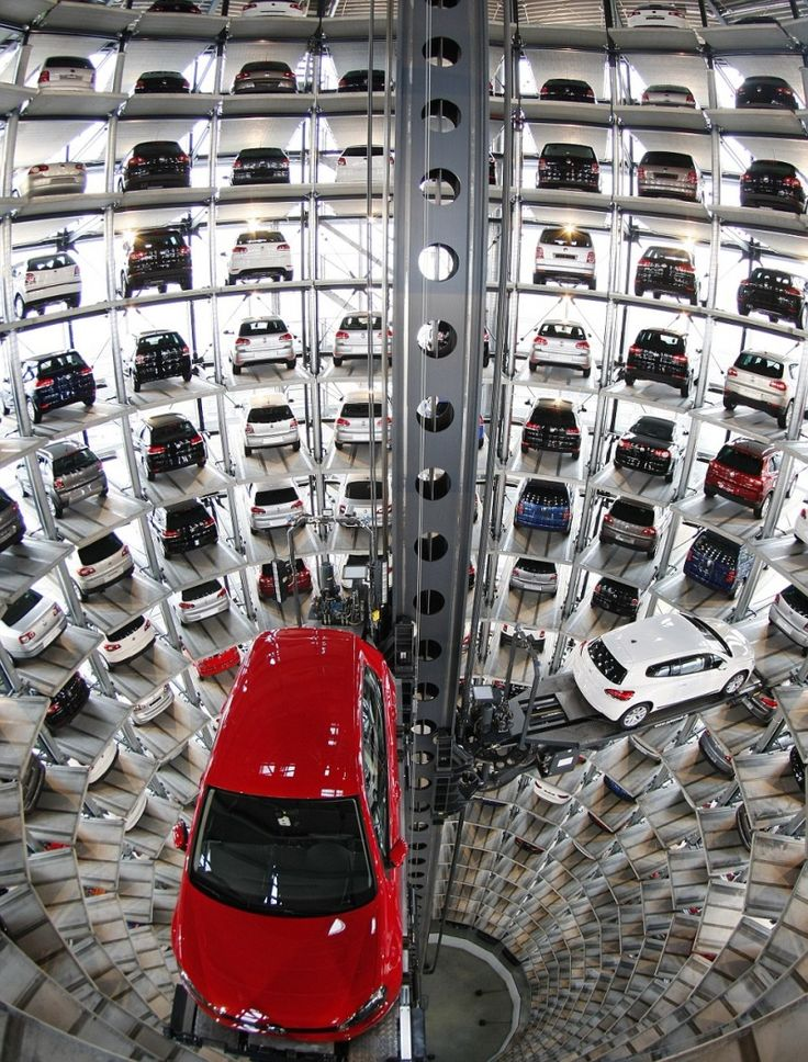 High-tech parking. Volkswagen factory, Wolfsburg. Truly Impressive Photos That Show anUnexpected Side ofLife