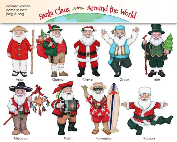 Santa Claus Around The World Digital Clip Art Coloring Pages And