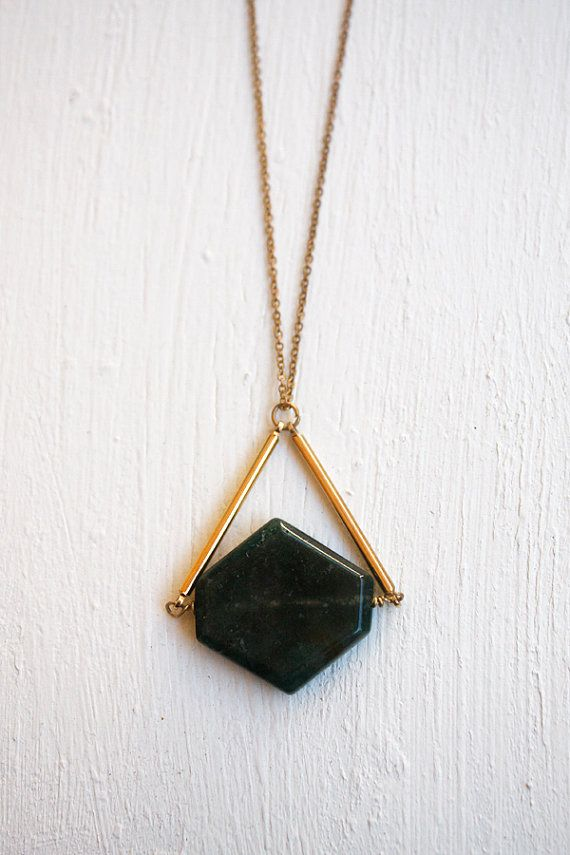 Jasper Hexagon Stone Necklace