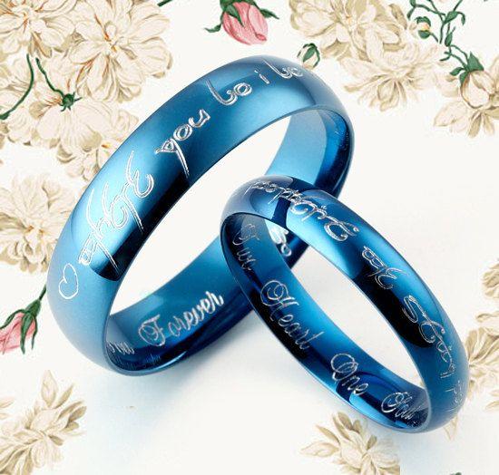 WEDDING RING - Handmade Blue Anywords His&Her Matching Wedding Engagement Titanium Rings Set Court Shape