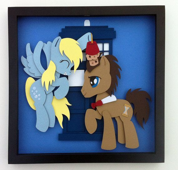 """Commission: 12""""x12"""" Derpy and Doctor Whooves Shadowbox"""