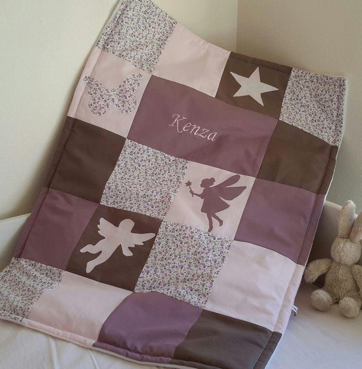 Couverture bébé patchwork 100x80cm theme printemps avec prénom : Puériculture par la-chouette-a-pois-roses