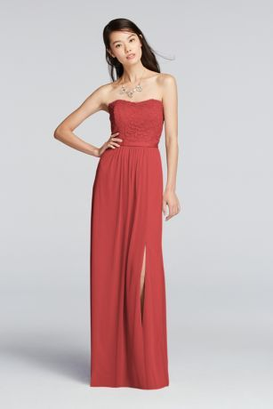Lace and mesh strapless bridesmaid dress in Guava, a unique option for brides looking for pink, orange or red bridesmaid dresses.