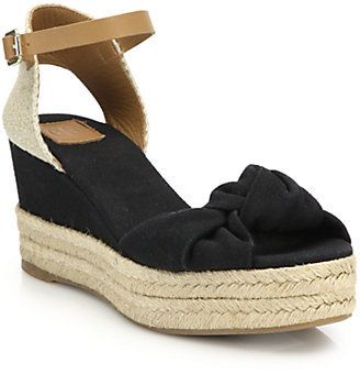 Knotted Canvas & Espadrille Wedge Sandals