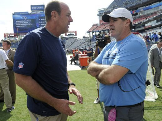 Browns vs. Titans:      October 16, 2016  -  28-26, Titans  -       Titans head coach Mike Mularkey chats with Predators head coach Peter Laviolette before the start of the game against the Browns at Nissan Stadium Sunday, Oct. 16, 2016, in Nashville, Tenn.  George Walker IV / The Tennessean