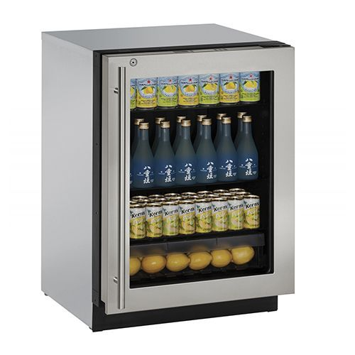 uline 24 builtin with lock - Glass Front Mini Fridge