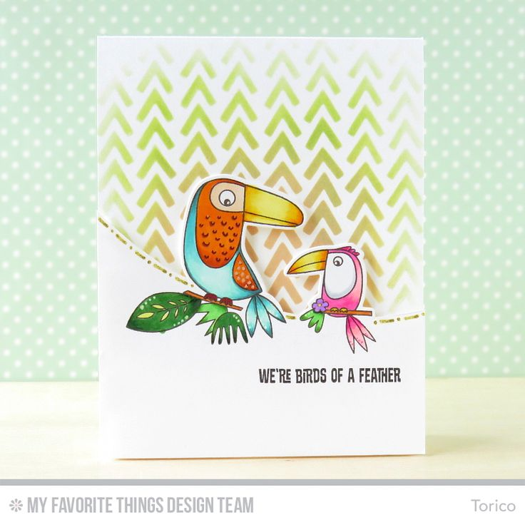 Handmade card from Torico featuring the Birds of Paradise stamp set and Die-namics.