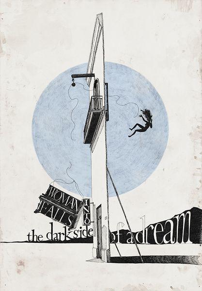 «WOMAN FALLS INTO THE DARK SIDE OF A DREAM» by  Anton Marrast    #helloposter #poster #posters #art #modernart #printart #illustrators #illustration