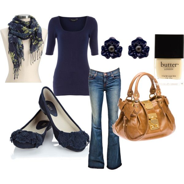Love it: Fashion, Style, Clothing, Casual Work Outfit, Brown Bags, Ballet Flats, Fall Outfit, Painting Colors, The Navy