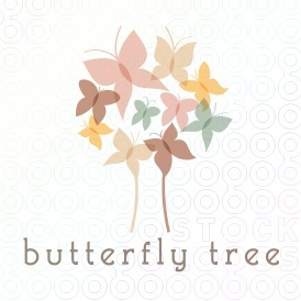 Delicate butterflies frock tree with pastel wings aflutter.