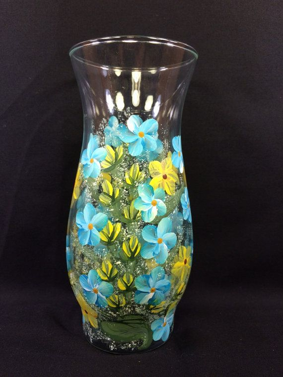 Hand Painted Glass Cylinder Vase - Spring Garden Blue & Yellow