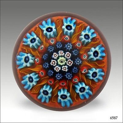 Vasart Glass spoke and millefiori paperweight / presse papiers