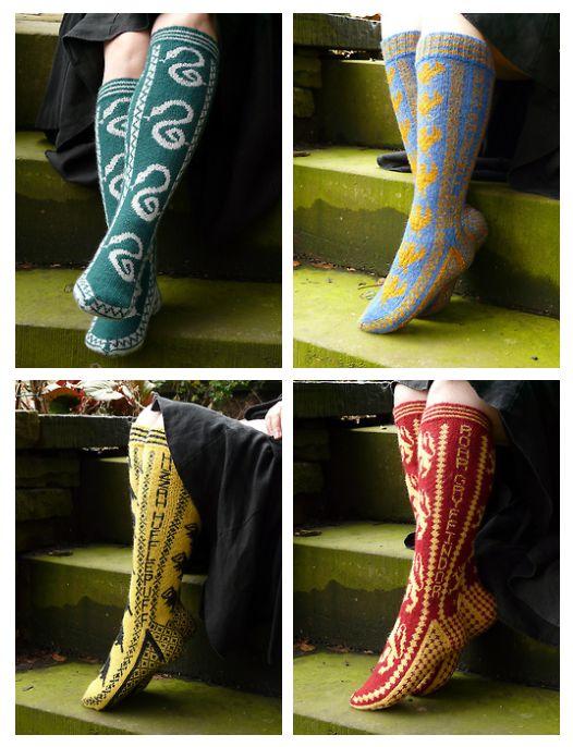Harry Potter. Slytherin, Ravenclaw, Hufflepuff, Gryffindor socks.