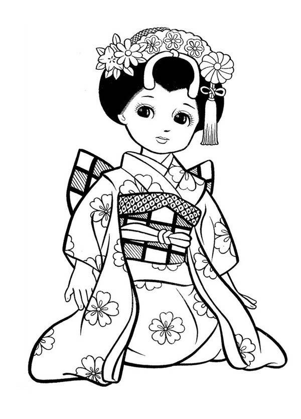 Japanese Girl Geisha Coloring Page