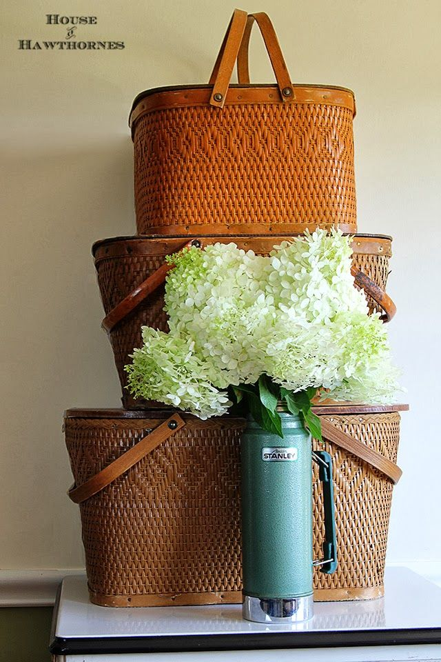 Beautiful Limelight Hydrangea with vintage picnic baskets @ houseofhawthornes.com