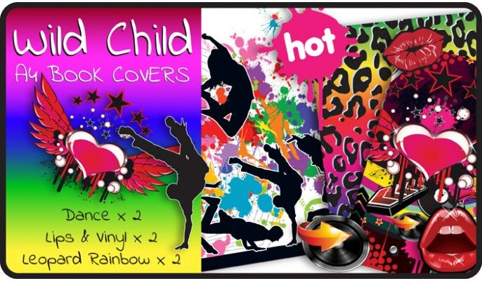 Wild Child Slip-On A4 School Book Covers - 6 pack