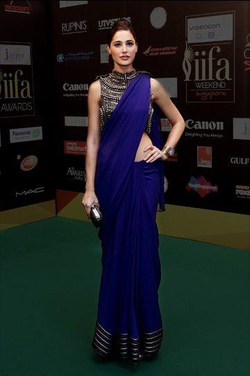 Nargis Fakhri...in beautiful blue saree...