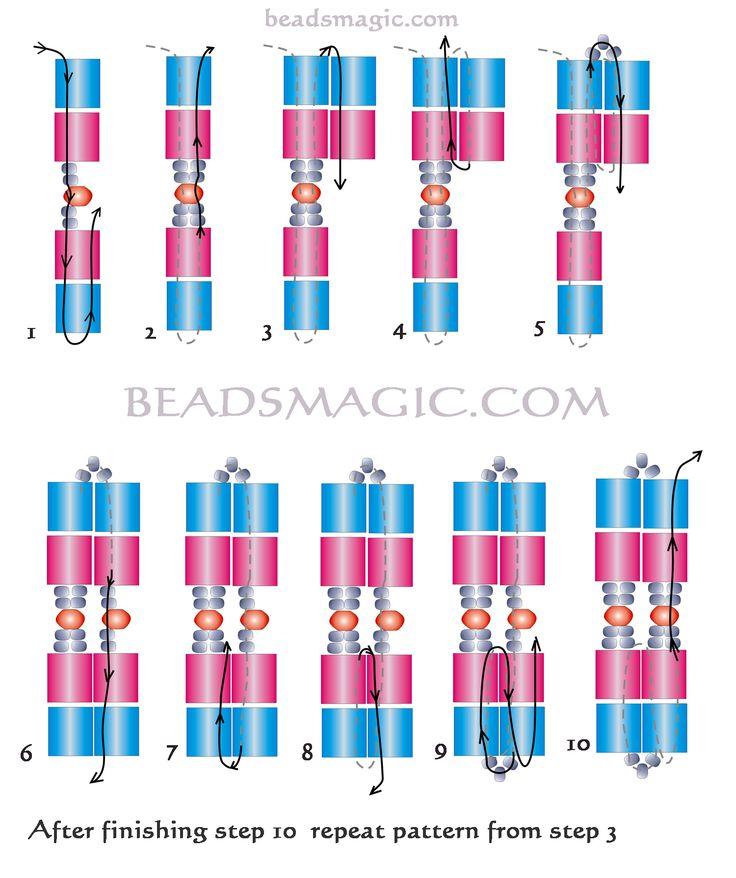 Free pattern for beautiful beaded bracelet Monaco with tila beads            U need:  tila beads seed bea