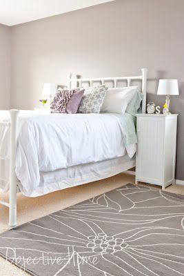 Galveston Gray walls.. white furniture with violet tones...