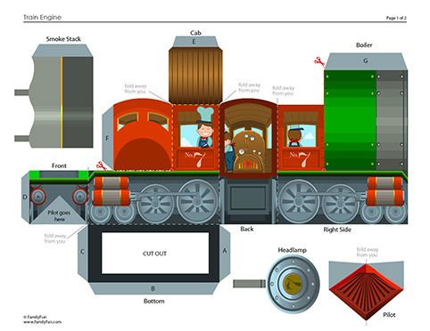 Build Your Own Train: Steam Engine (Printable Paper Crafts for Kids)   Spoonful