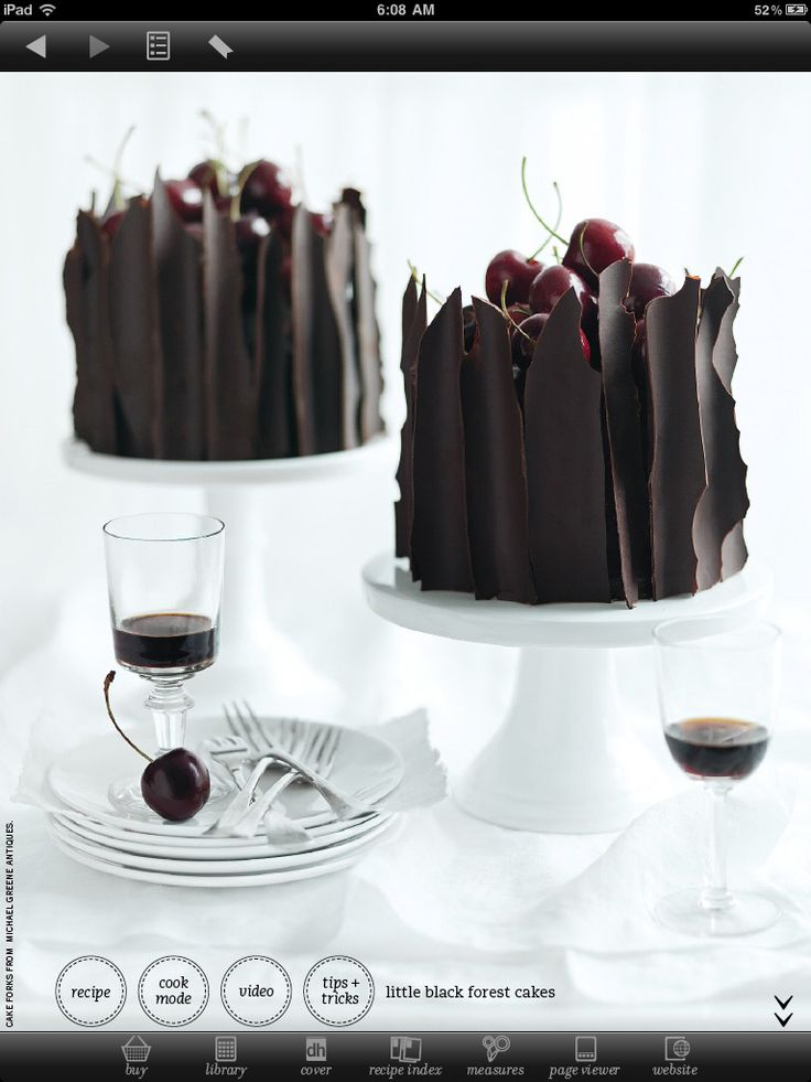 Little Black Forest Cakes (link to Donna Hay recipes app).