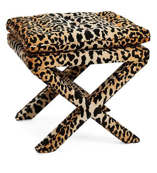 Leopard Pillow-Top Ottoman
