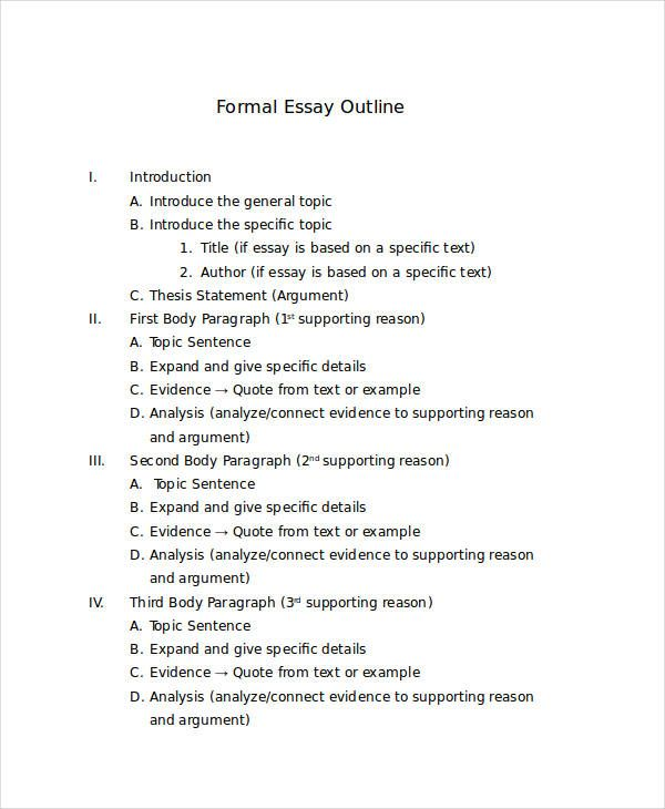 Formal Outline Essay Outline Essay Research Paper Outline Template