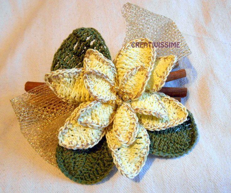 Centrotavola Stella di Natale con cannella all'uncinetto fatto a mano, by CREATIVISSIME, 15,00 € su misshobby.com