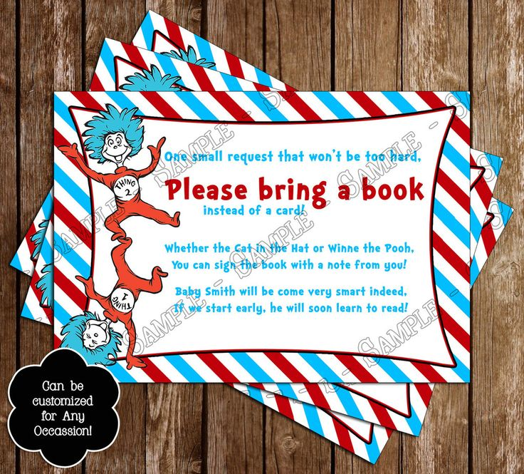 """Dr Suess - Cat in the Hat - Thing One & Thing Two """"Bring a Book"""" Baby Shower Invitation Insert"""