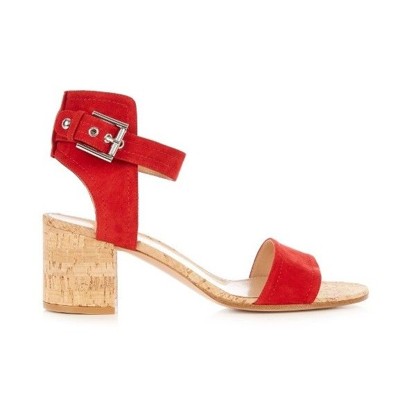 Gianvito Rossi Rikki cork block-heel sandals ($660) ❤ liked on Polyvore featuring shoes, sandals, red heeled sandals, toe strap sandals, heeled sandals, color block shoes and block heel sandals
