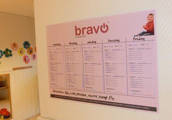 Bravo ukeplan for oversikt over alle ukens ord for ansatte og foreldre.