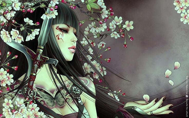 animeCherries Blossoms, Warriors Princesses, Japan Prints, Girls Generation, The Artists, Japan Art, Asian Beautiful, Wallpapers, Animal Girls