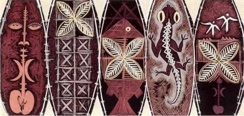 FATU FEU'U Vi'iga poula: Adoration of Fertility Ritual by Night 2001  Woodcut, 559 x 1212 mm. (Collection of Auckland Art Gallery Toi o Tamaki)