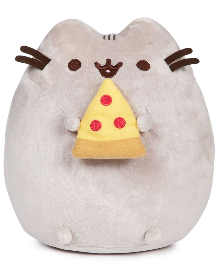 """Even Pusheen loves pizza, and you'll love this squeezable plush version of the Internet's favorite cat from Gund.   Polyester/plastic   Hand wash   Imported   Dimensions: 7.5"""" x 9.5"""" x 4""""   Web ID:423"""