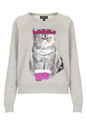 Christmas Cat Sweat - TOPSHOP