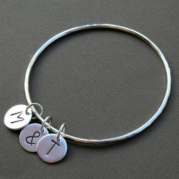 Personalized Bangle Charm Bracelet Three Letter by KiraFerrer, $58.00