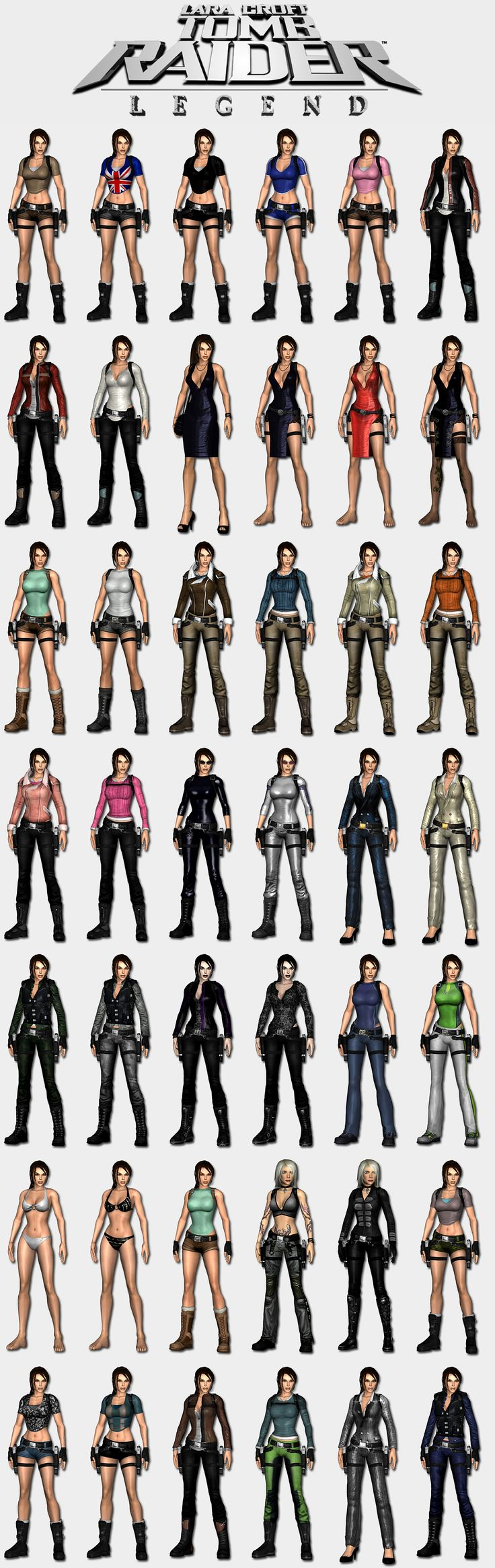 Tomb Raider Legend - Lara's outfits by HailSatana