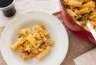 One-Pot Sweet Potato and Bacon Pasta