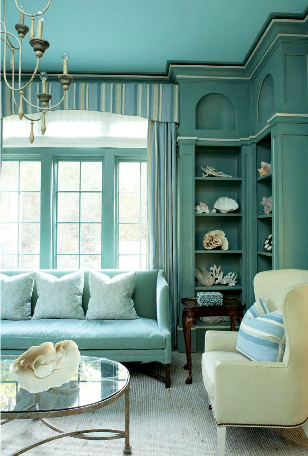 Turquoise room. This Sea Island, Georgia vacation home designed by Billy Roberts and photographed by Lauren Rubinstein.: Blue Interiors, Living Rooms, Beaches House, Built In, Color, Builtin, Teal, Aqua, Corner Shelves