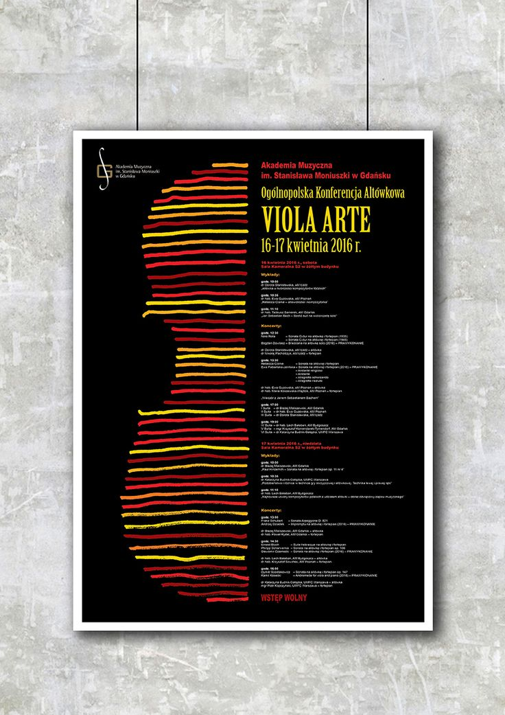 poster, music, academy, viola, violin, instrument, drawing, handdrawn, polishposter