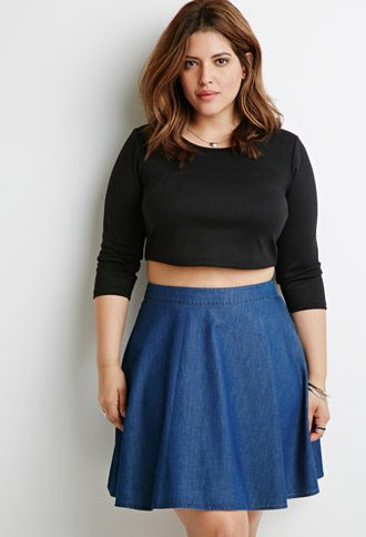 Denim Skater Skirt in Dark Denim (Size XL) $14.90 // Forever 21 PLUS