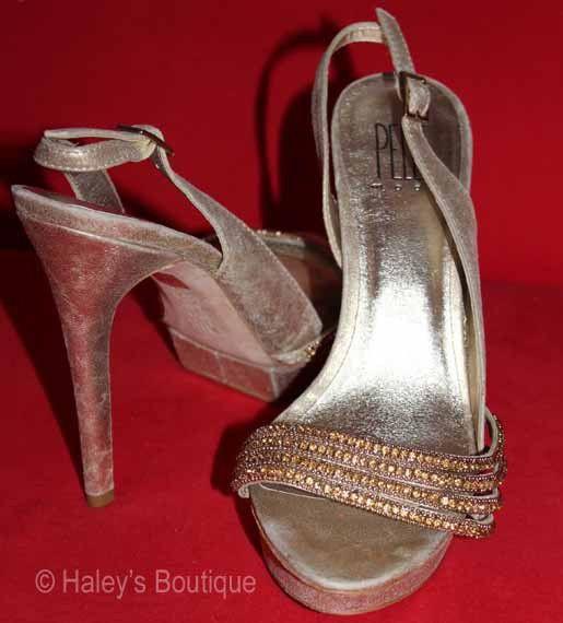 Classic Designer Pelle Moda Gold High Heel Shoes Sophisticated Timeless Wedding #PelleModa #Slingbacks