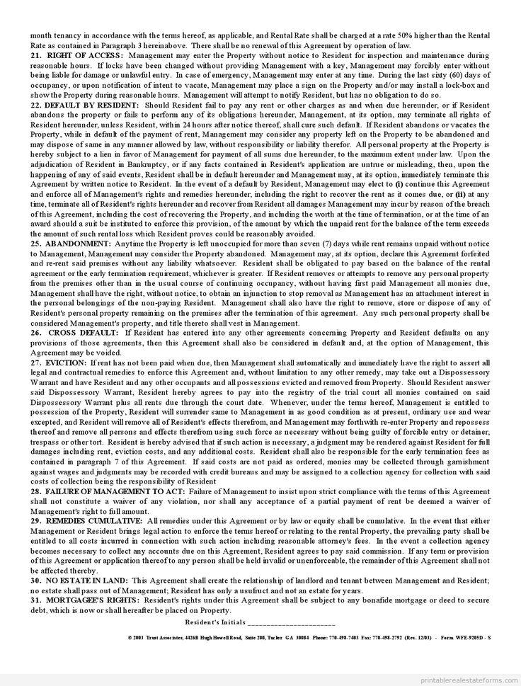 Sample Printable standard rental agreement Form