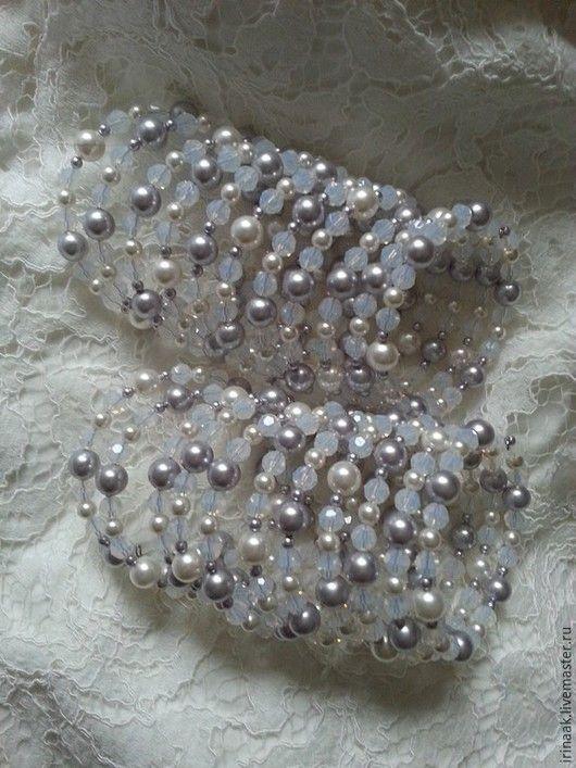 Браслеты ручной работы. Ярмарка Мастеров - ручная работа. Купить Парные браслеты.. Handmade. Белый, браслет, жемчуг сваровски (swarovski)